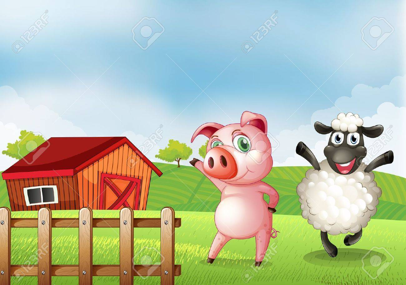 Illustration Of A Farm With Pig And Sheep Stock Vector