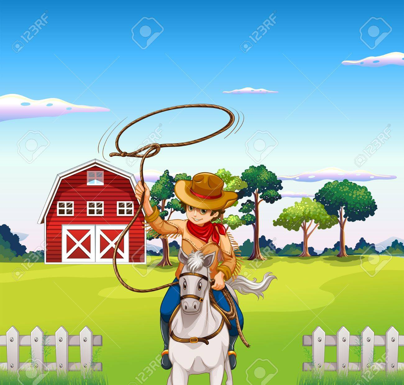 Illustration of a young cowboy in the ranch Stock Vector - 20366740