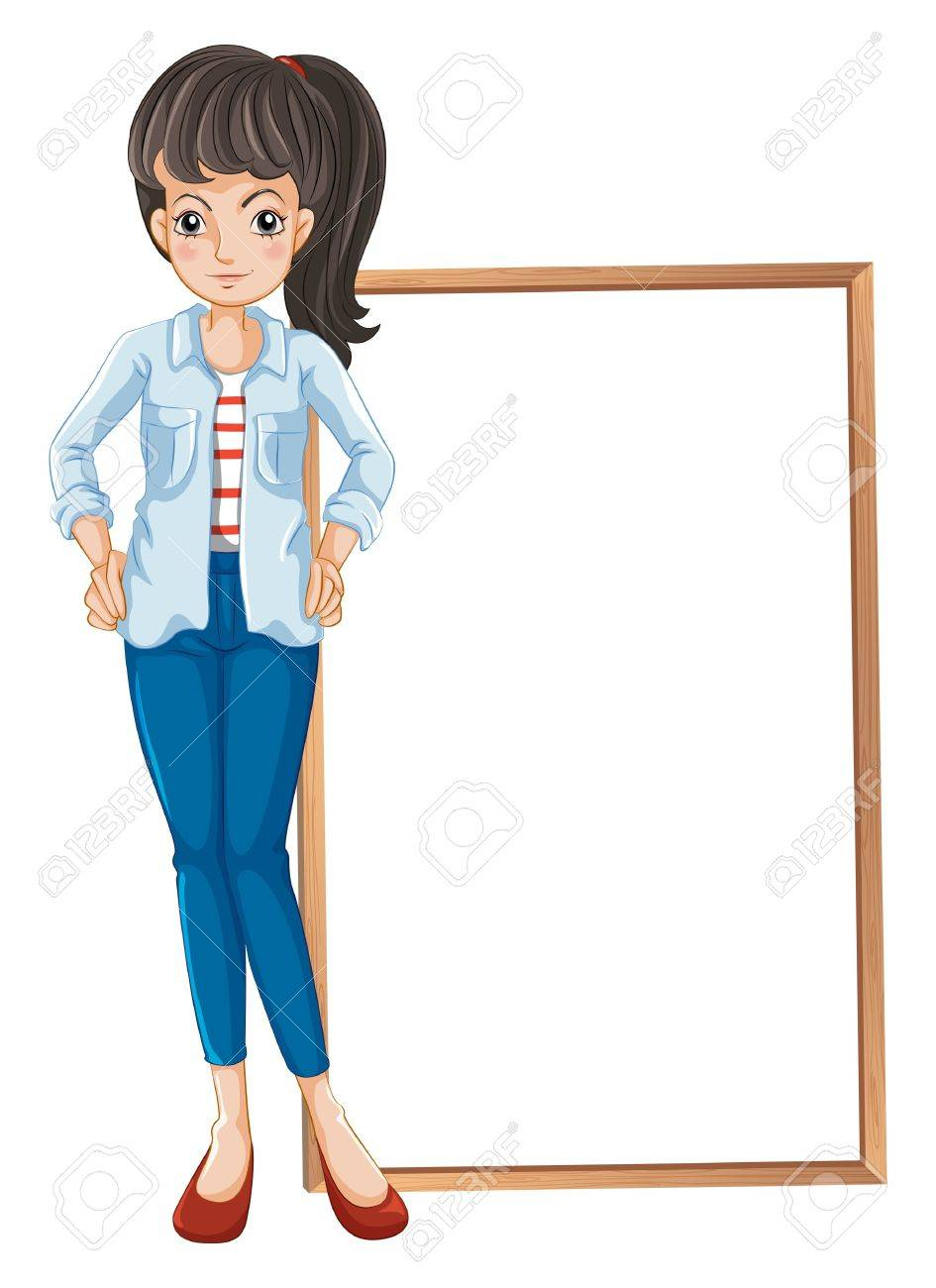 Illustration of a girl standing with a blankboard at the back on a white background Stock Vector - 20366384