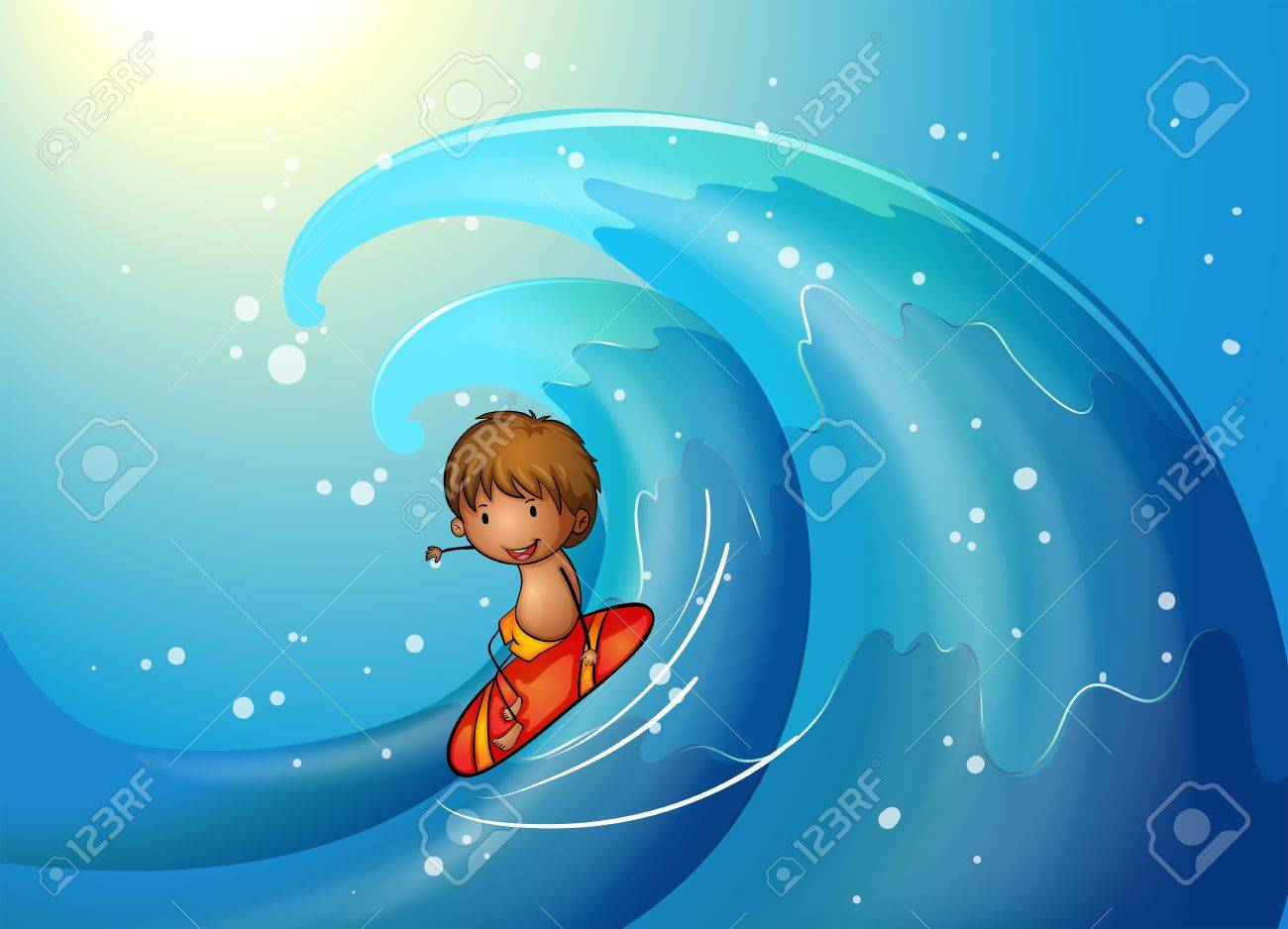 Illustration of a little man surfing Stock Vector - 20366651