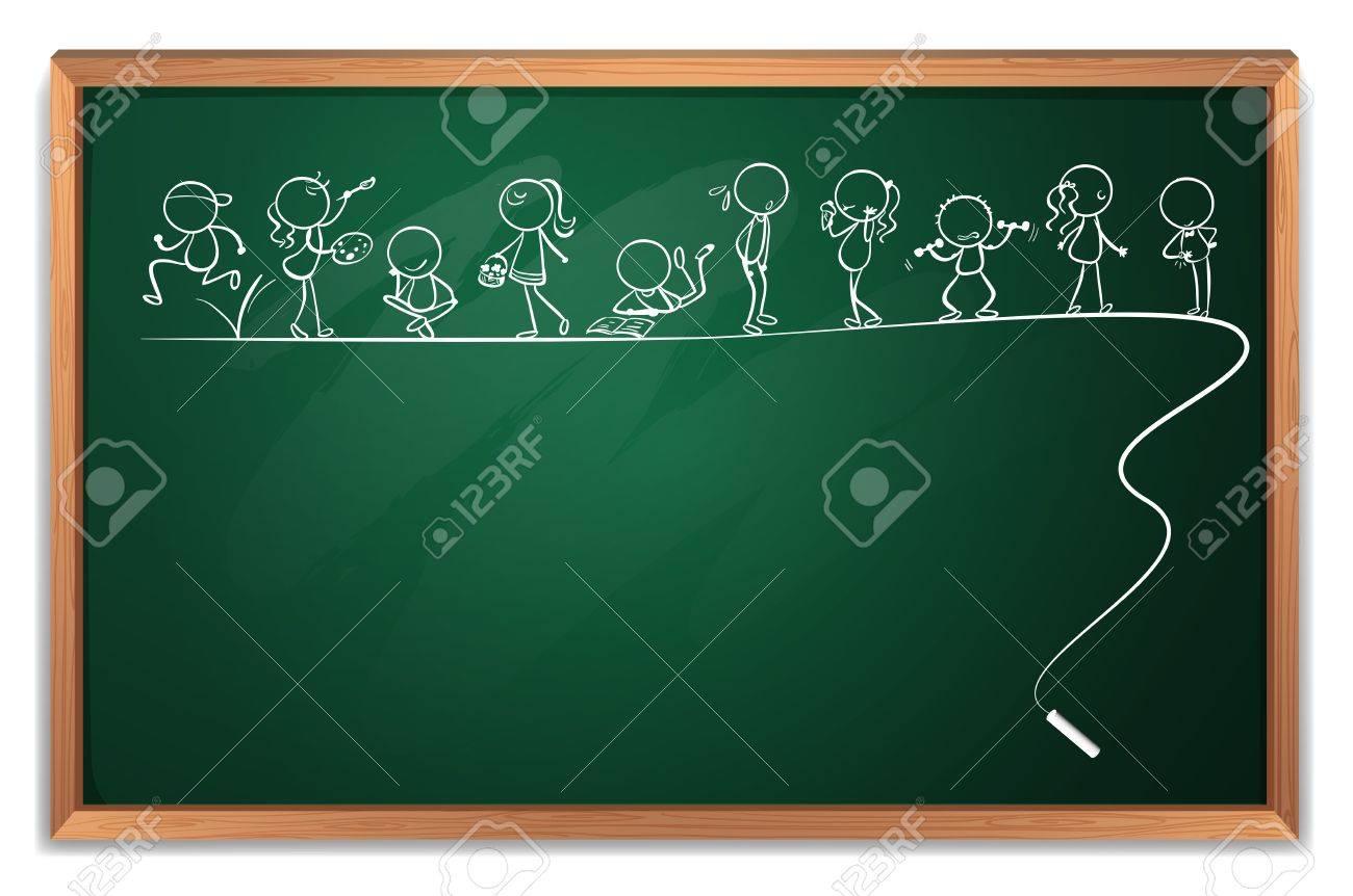 Empty cartoon classroom background - Cartoons Classroom Illustration Of A Blackboard With A Doodle Art On A White Background Illustration