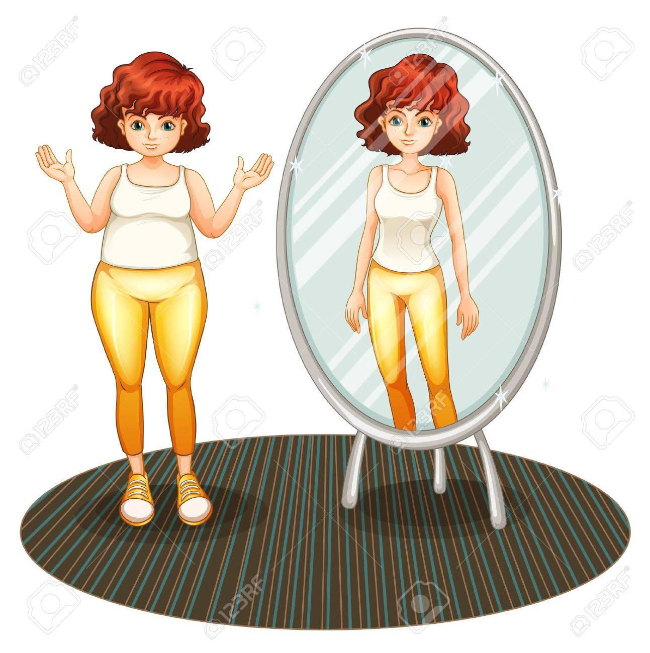 Illustration of a fat girl and her skinny reflection on a white background Stock Vector - 20517982