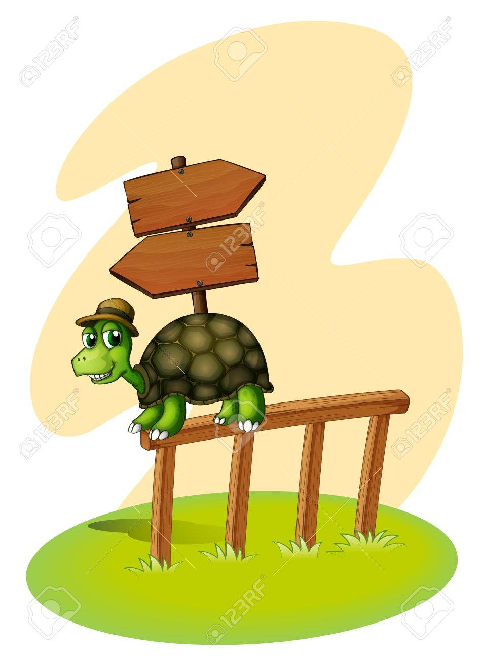 Illustration of a turtle above the fence with an empty arrowboards on a white background Stock Vector - 20517985