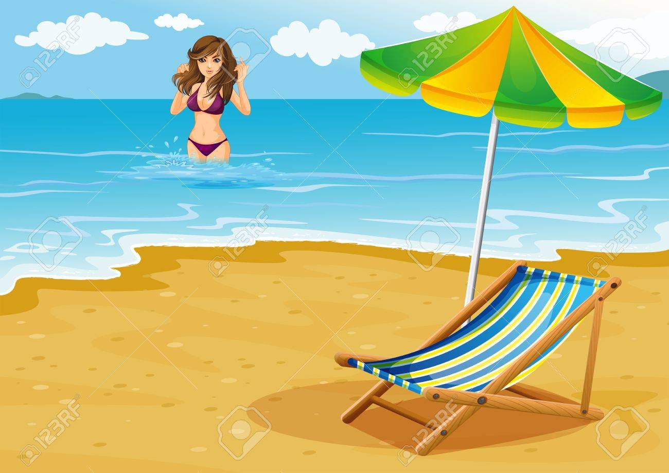 Illustration of a beach with a lady in a purple bikini Stock Vector - 20517921