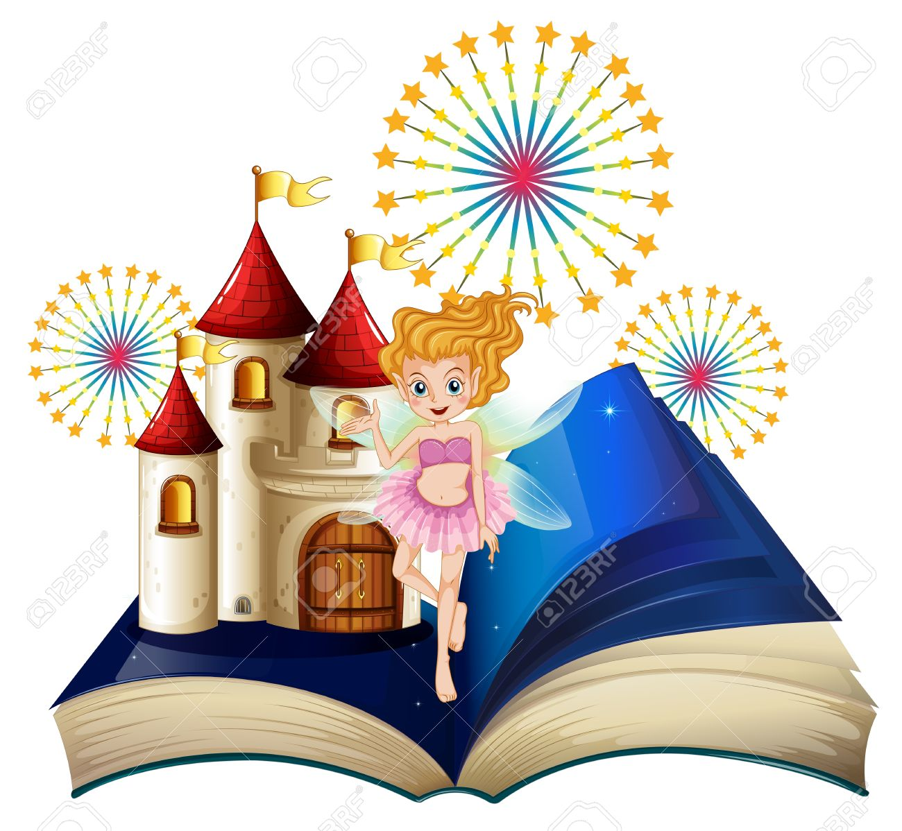 Illustration of a storybook with a fairy, a castle and fireworks on a white background Stock Vector - 20518217
