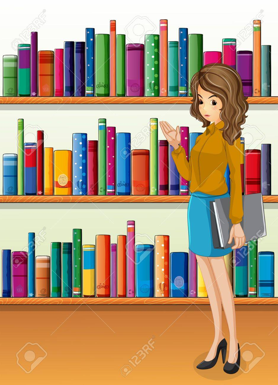 Illustration of a lady holding a binder standing in front of the wooden shelves with books Stock Vector - 20518269