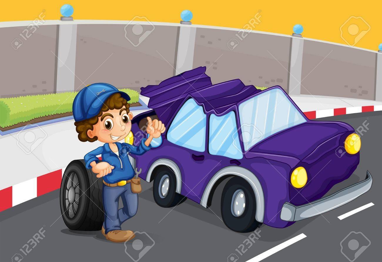 Illustration of a broken violet car at the road Stock Vector - 20518016