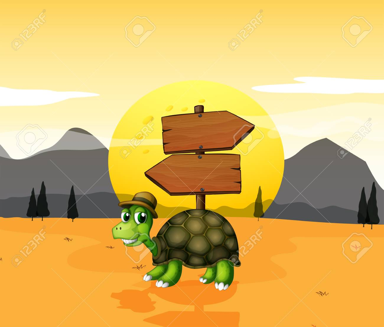 Illustration of a turtle in the desert near the arrowboards Stock Vector - 20518131