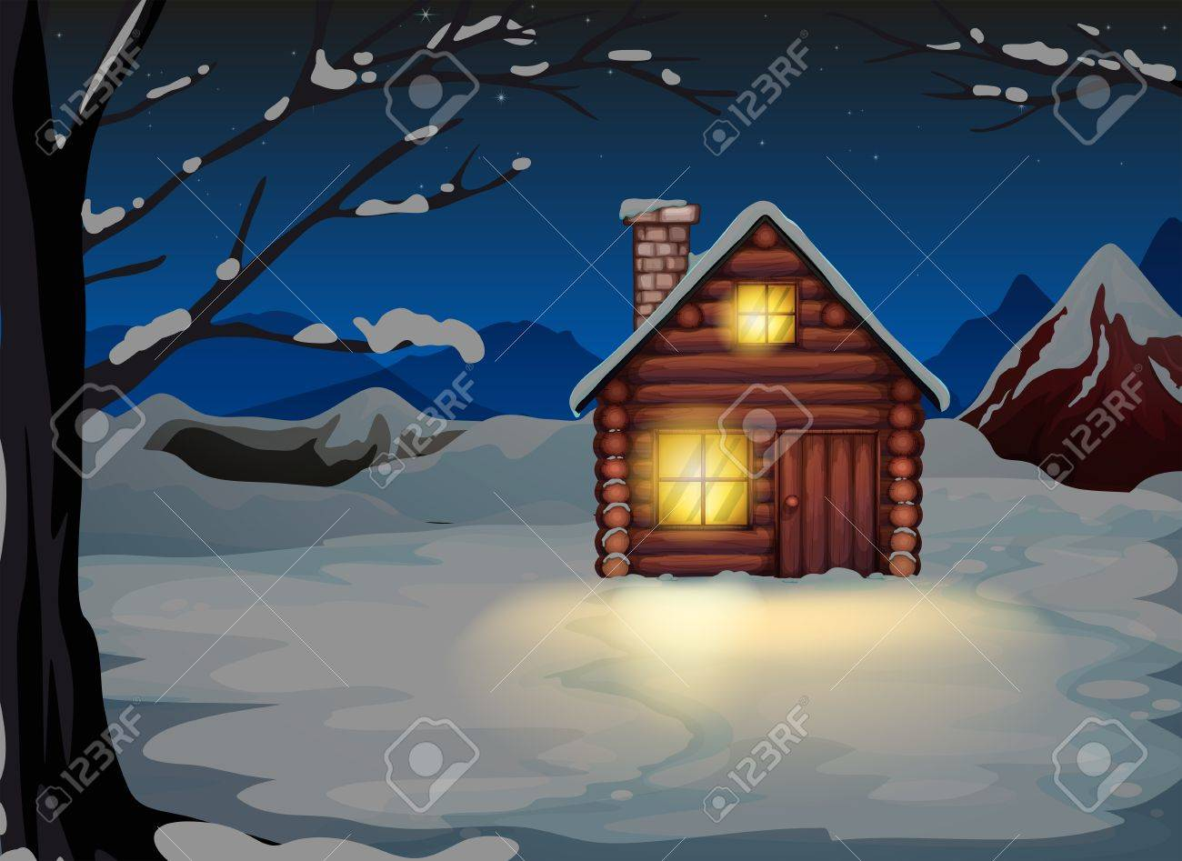 Illustration of a lighted log house at the snowy land Stock Vector - 20518317