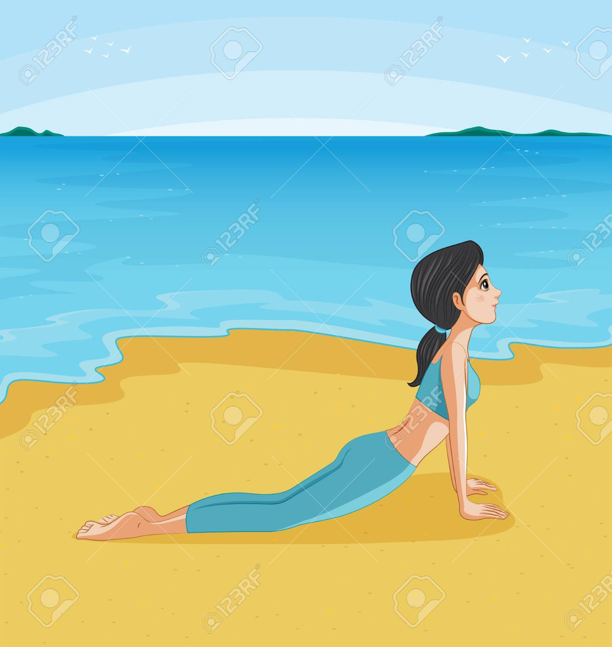 Illustration of a girl doing yoga at the beach Stock Vector - 20517637