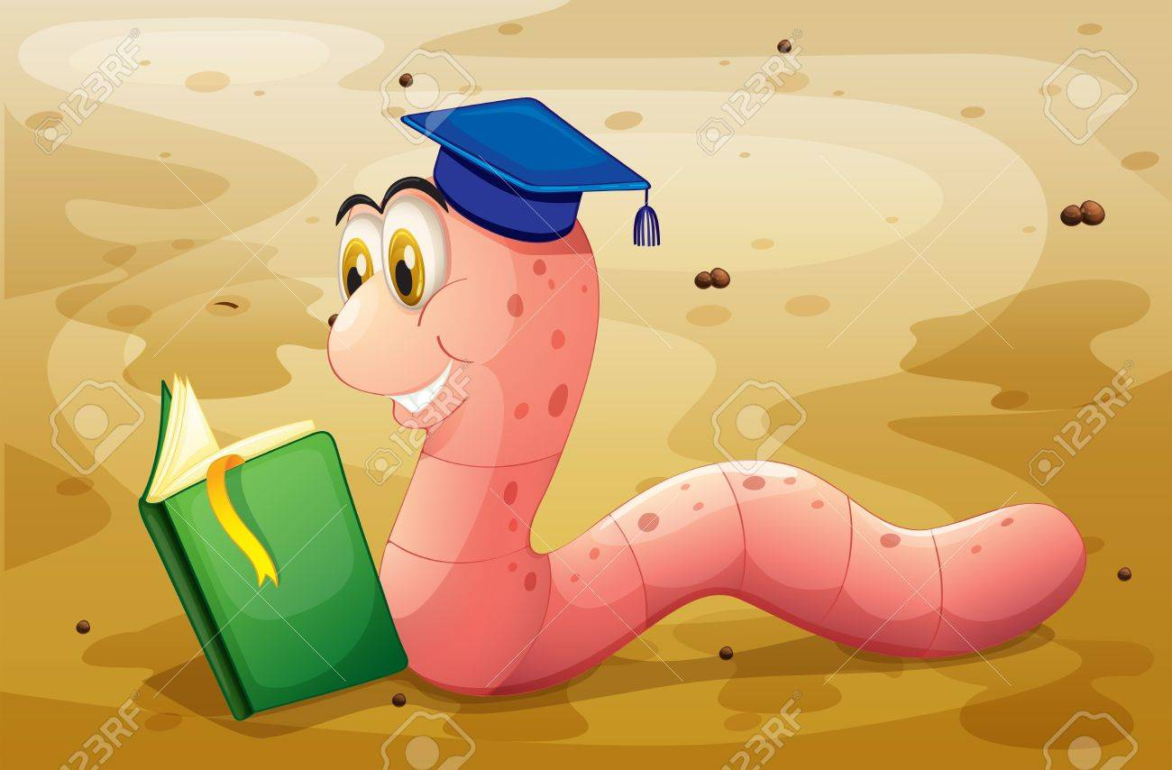 Illustration of an earthworm reading a book at the ground Stock Vector - 20517790