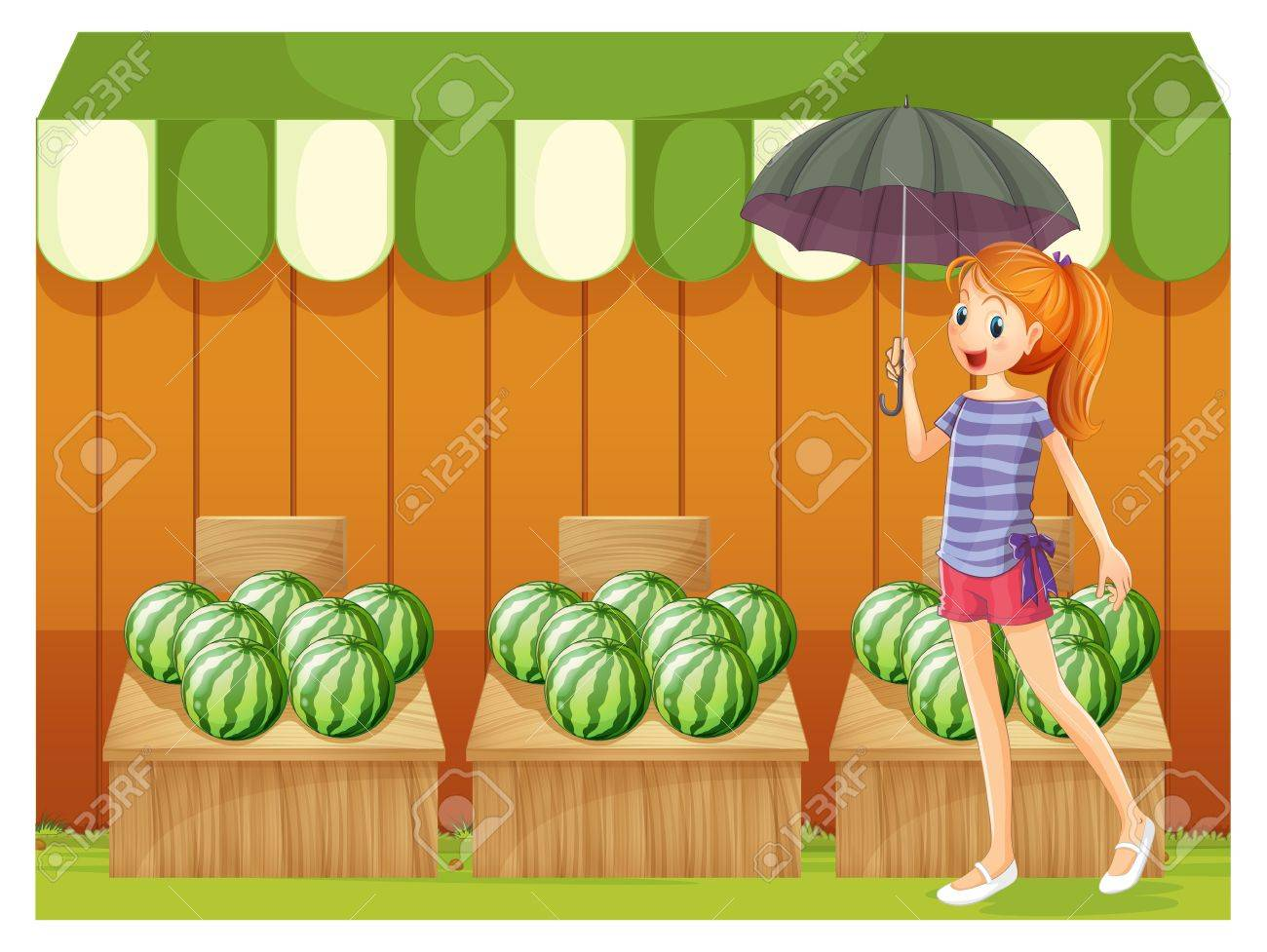 Illustration of a girl in front of the watermelons Stock Vector - 20518294