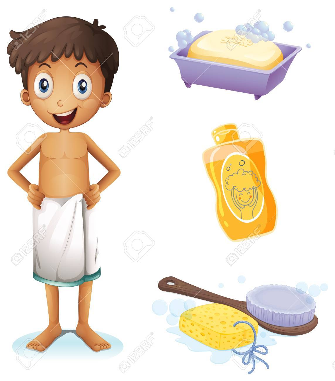 Illustration of a young man taking a bath on a white background Stock Vector - 20517965
