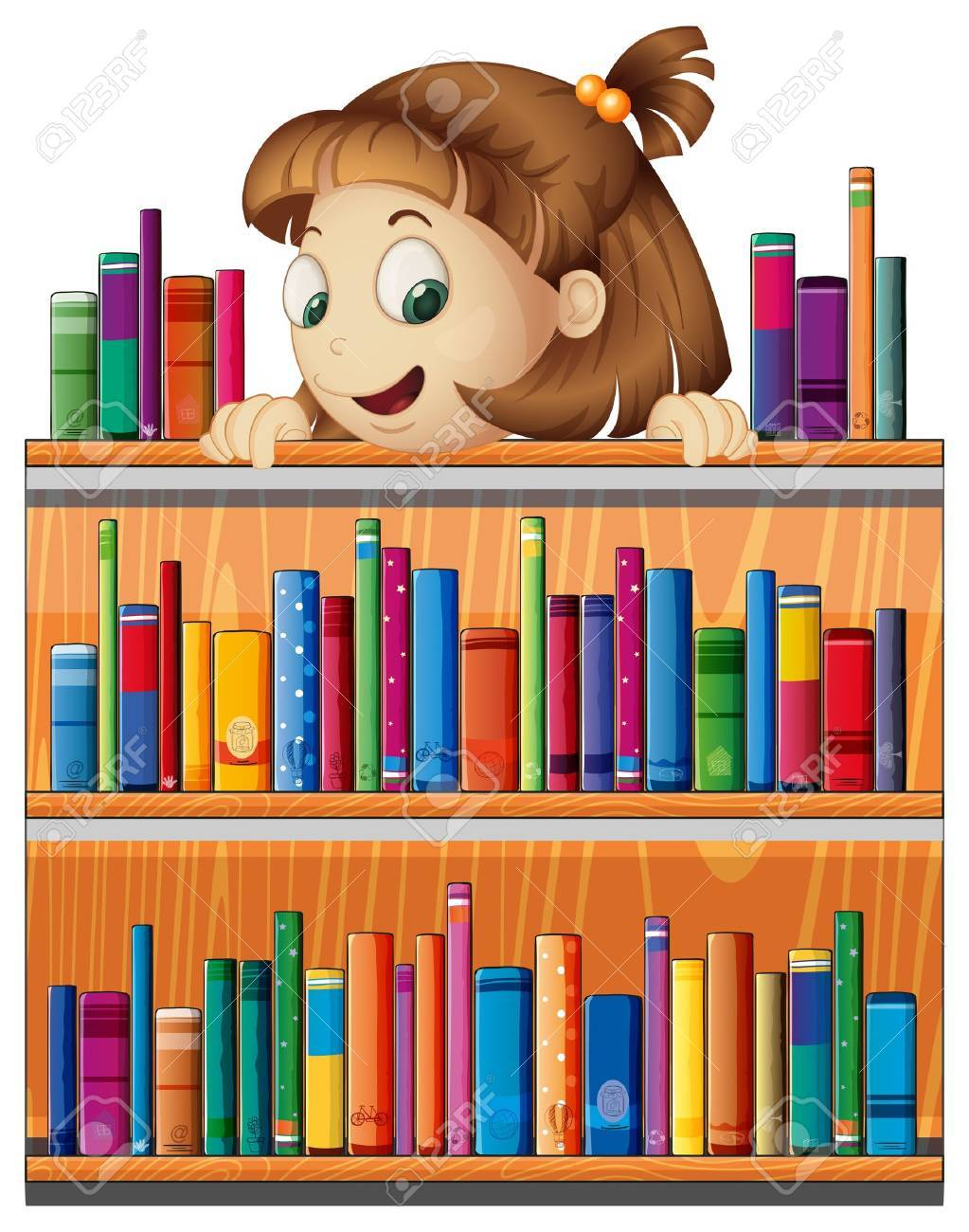 Illustrayion of a playful young girl in the library on a white background Stock Vector - 20518125