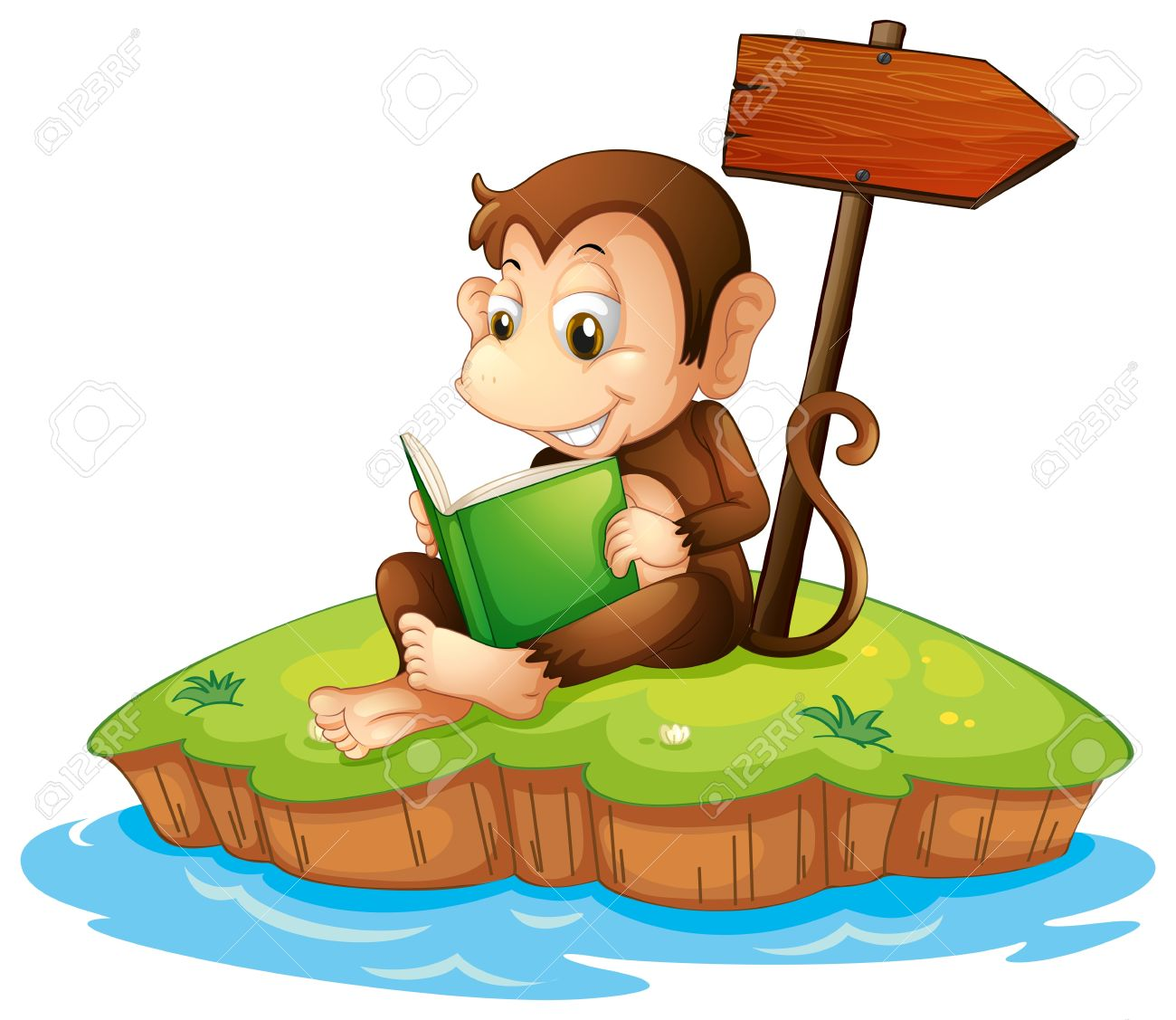 Illustration of a monkey reading a book in an island on a white background Stock Vector - 20517758