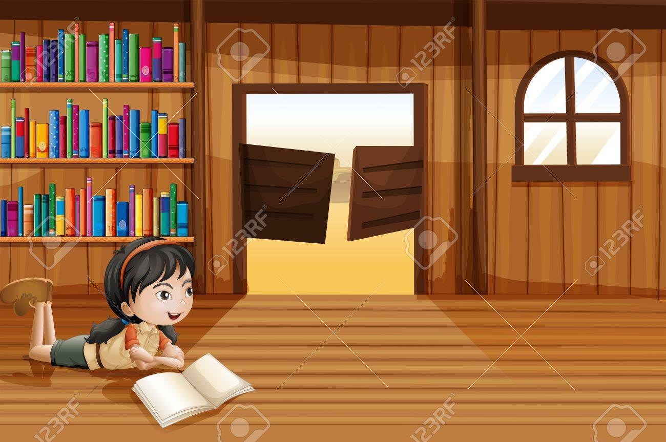 Illustration of a girl reading a book in the library with a swingdoor Stock Vector - 20518158