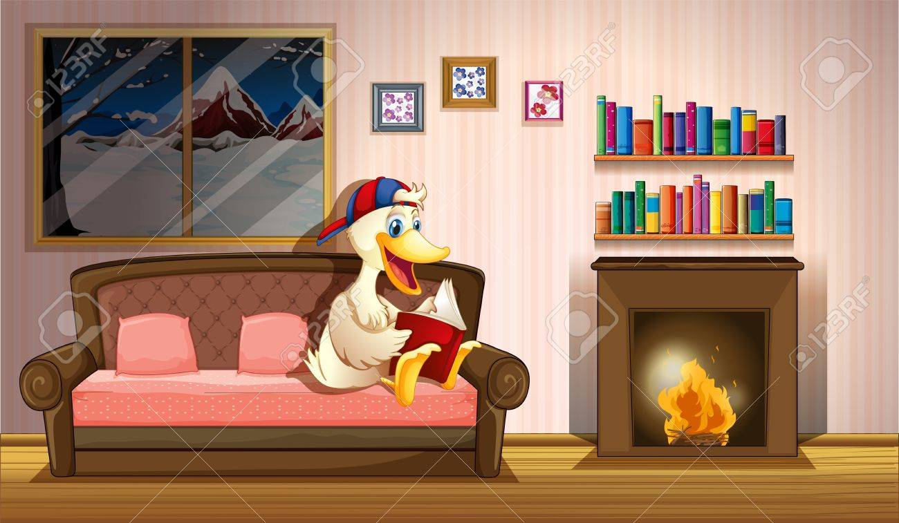 Illustration of a duck reading a book beside a fireplace Stock Vector - 20518208