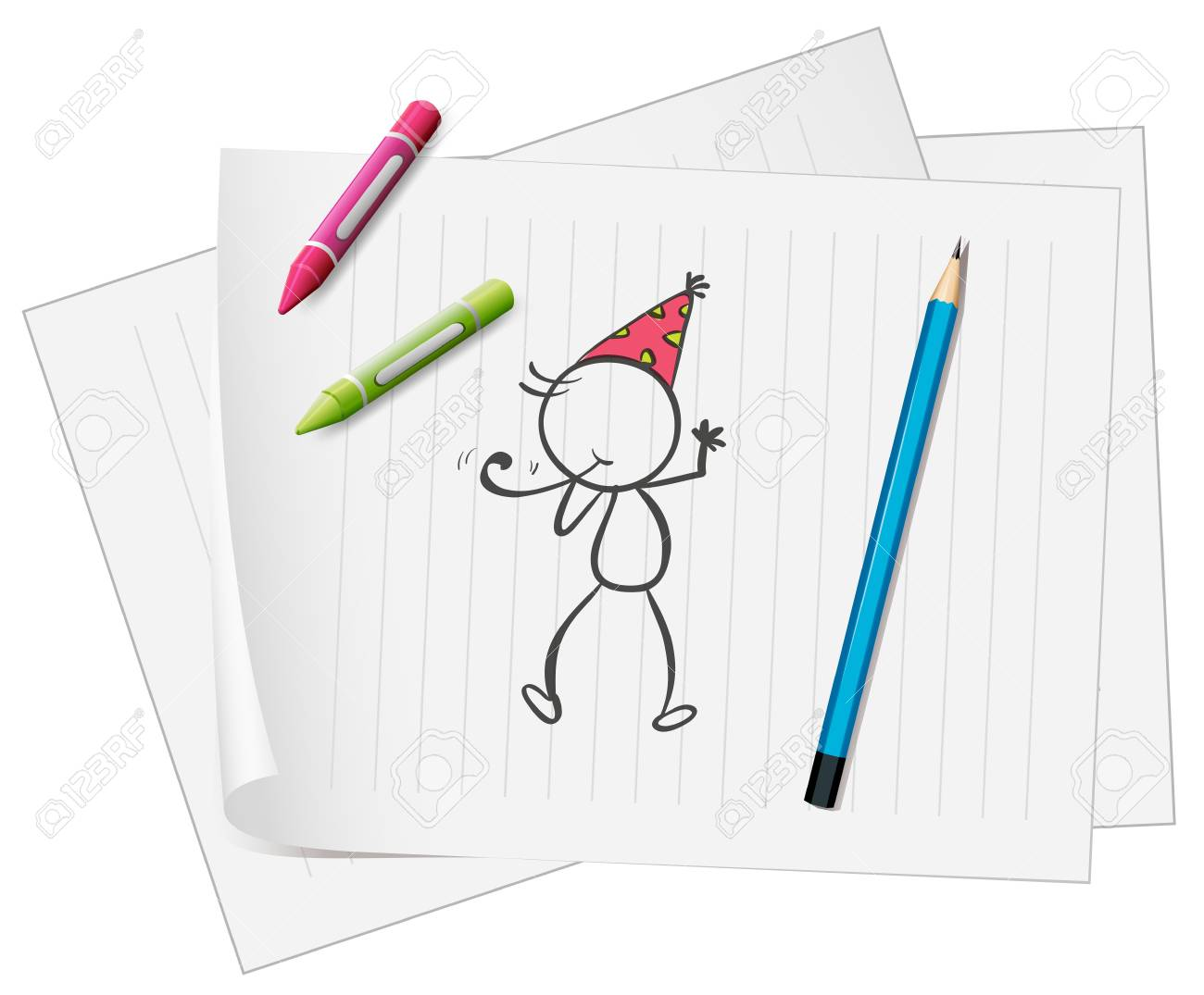 Illustration of a paper with a sketch of a person with crayons and a pencil on