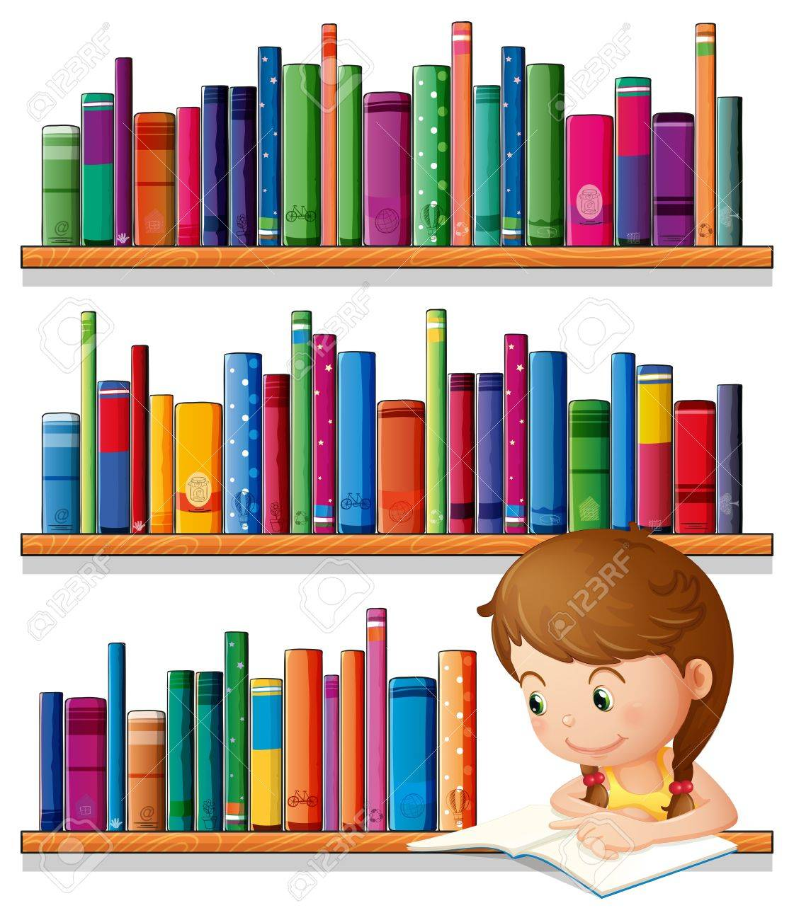 Illustration of a young girl reading in the library on a white background Stock Vector - 20518153
