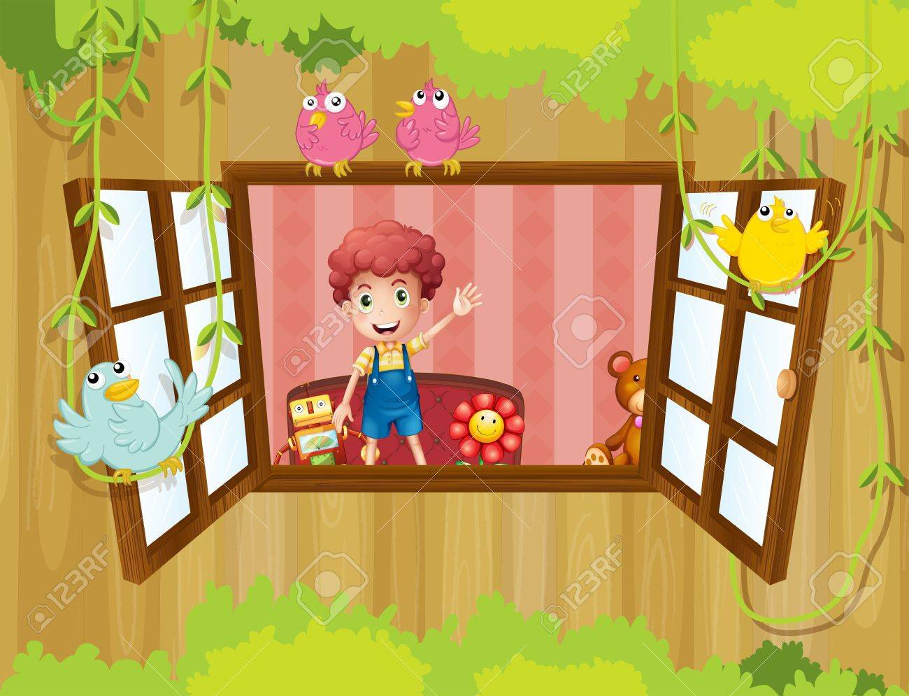 Illustration of a young boy inside the house waving near the window Stock Vector - 20727301