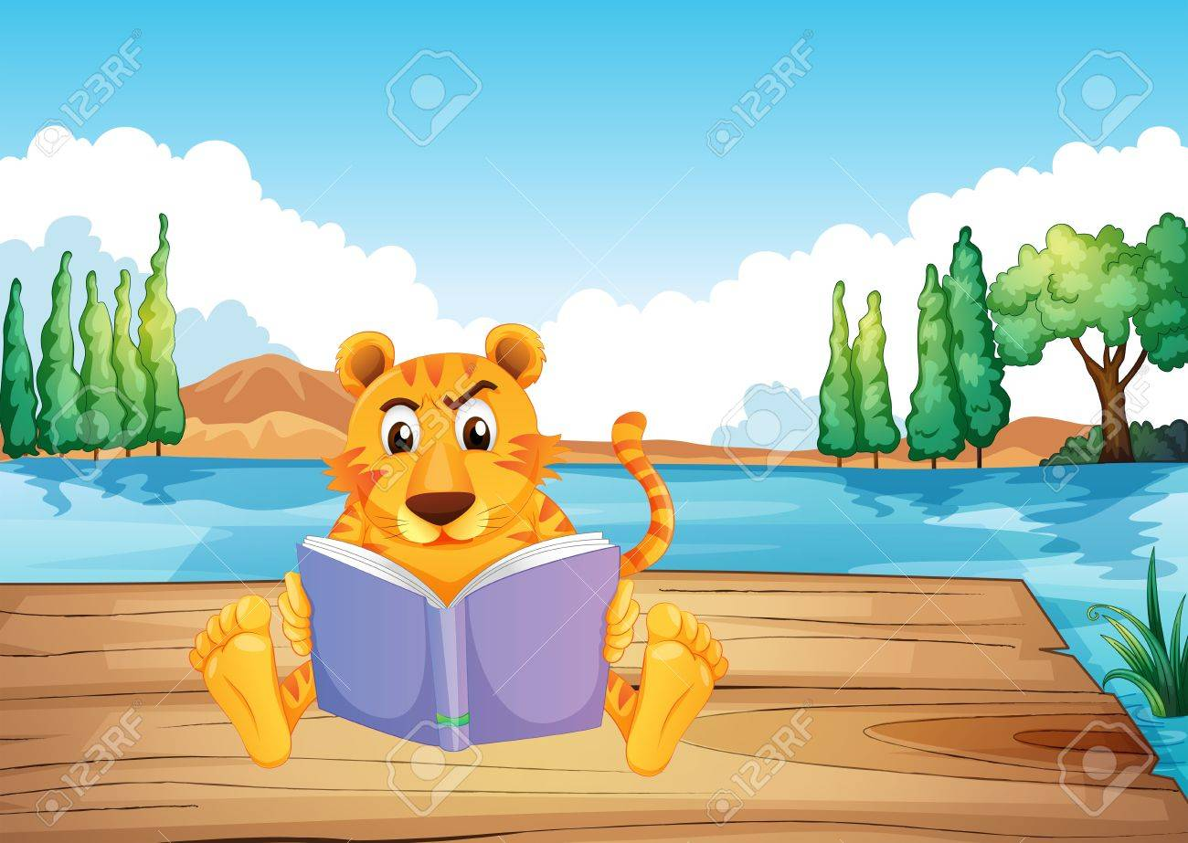Illustration of a serious tiger reading a book at the diving board Stock Vector - 20727361