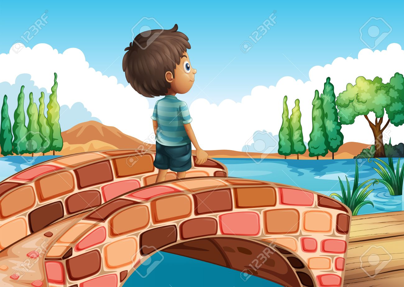 Illustration of a boy at the bridge Stock Vector - 20727375