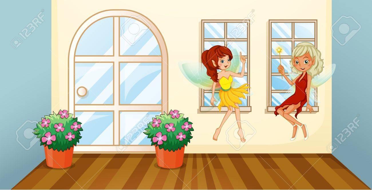 窓際に座って 2 つの妖精のイラストのイラスト素材ベクタ Image