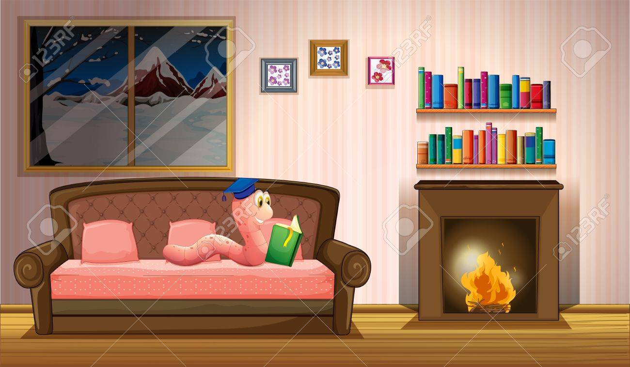 Illustration of a worm reading a book near the fireplace Stock Vector - 20727513