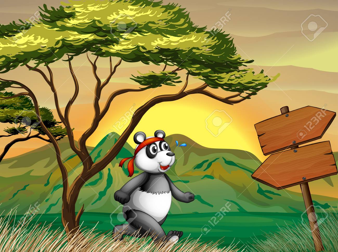 Illustration of a panda following the wooden arrowboard Stock Vector - 20729639