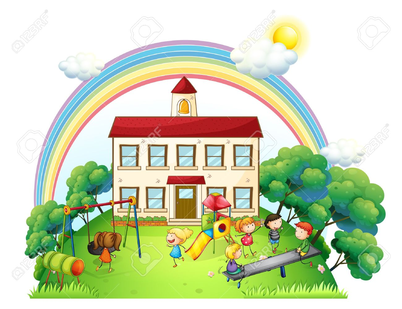 Illustration of the kids playing at the playground on a white background - 20729646