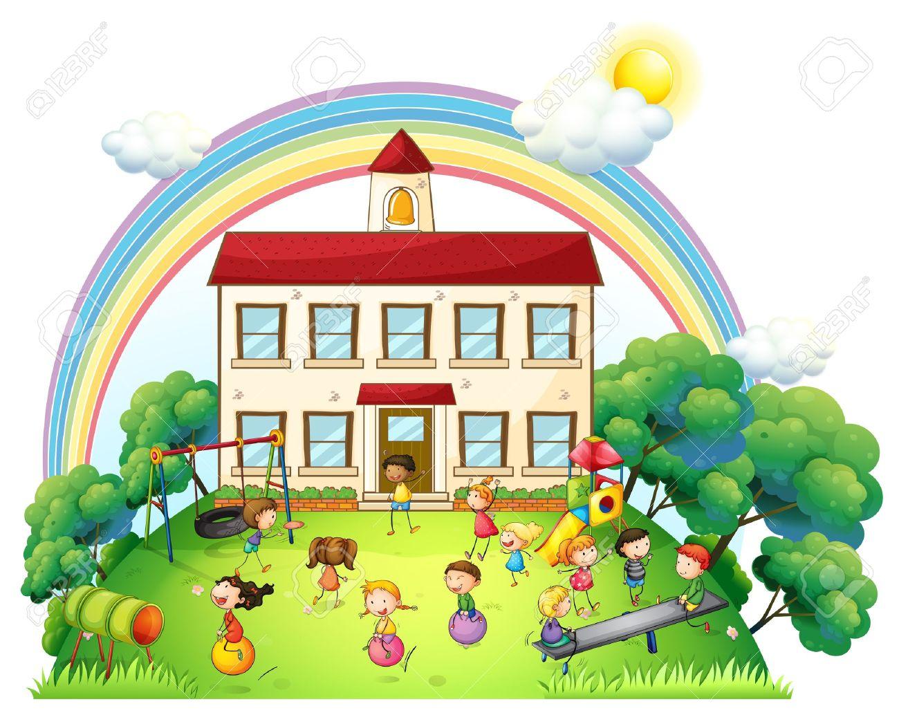 Ilustración De Los Niños Jugando Delante De La Escuela Sobre Un Fondo Blanco Ilustraciones Vectoriales Clip Art Vectorizado Libre De Derechos Image 20729560