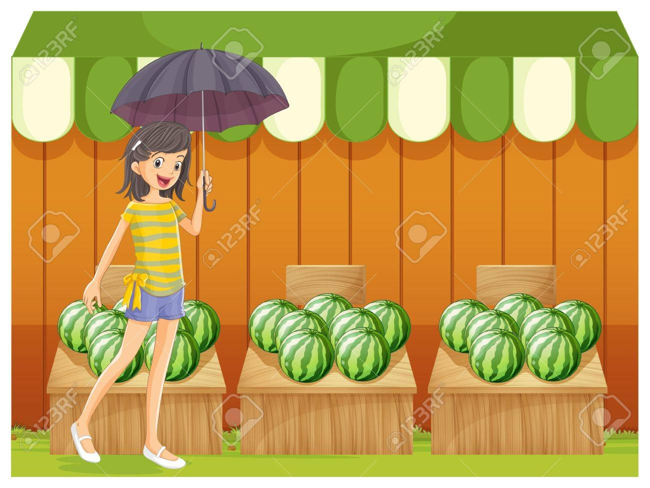 Illustration of a girl holding an umbrella walking in front of the watermelon shop on a white background Stock Vector - 20729563