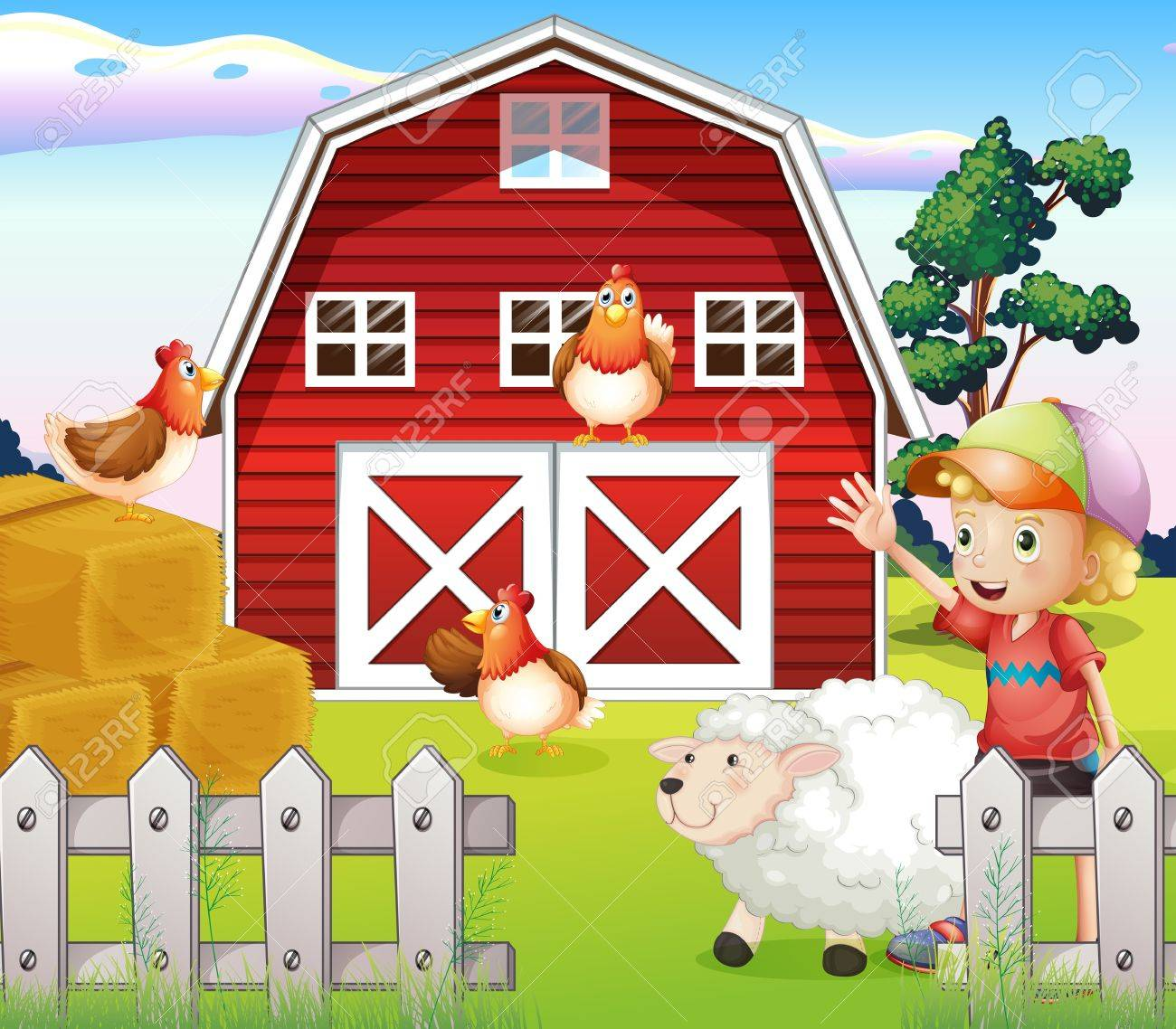 Illustration Of A Boy At The Farmhouse With Animals Royalty Free Cliparts Vectors And Stock Illustration Image 20729471