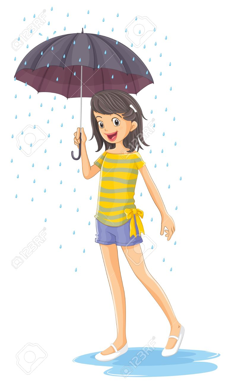 Illustration of a girl holding an umbrella on a white background Stock Vector - 20881456