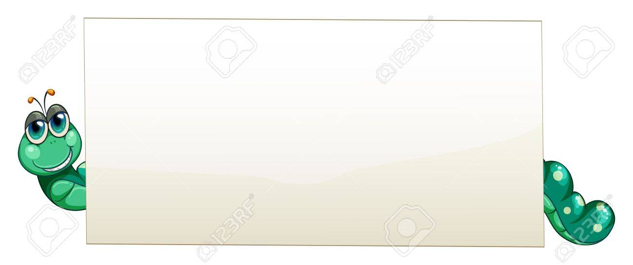 Illustration of a worm at the back of an empty banner on a white background Stock Vector - 20888620