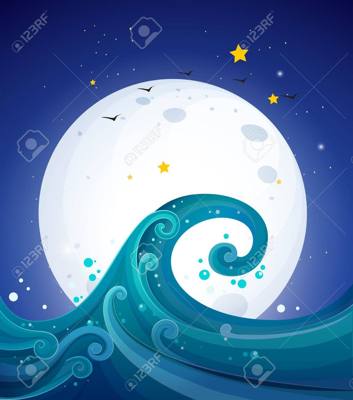 Illustration of the big waves below the bright fullmoon Stock Vector - 20888650