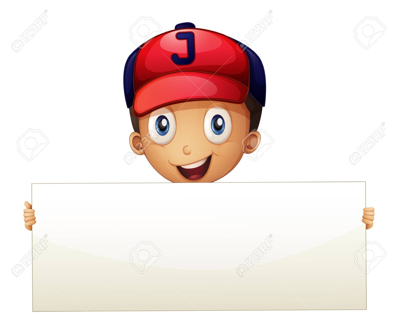 Illustration of a happy young boy holding an empty signboard on a white background Stock Vector - 20888847