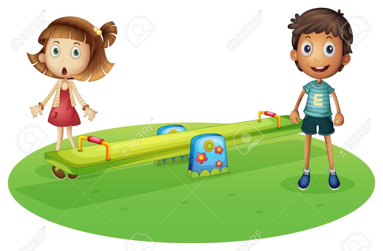 Illustration of a girl and a boy near the seesaw on a white background Stock Vector - 20888863