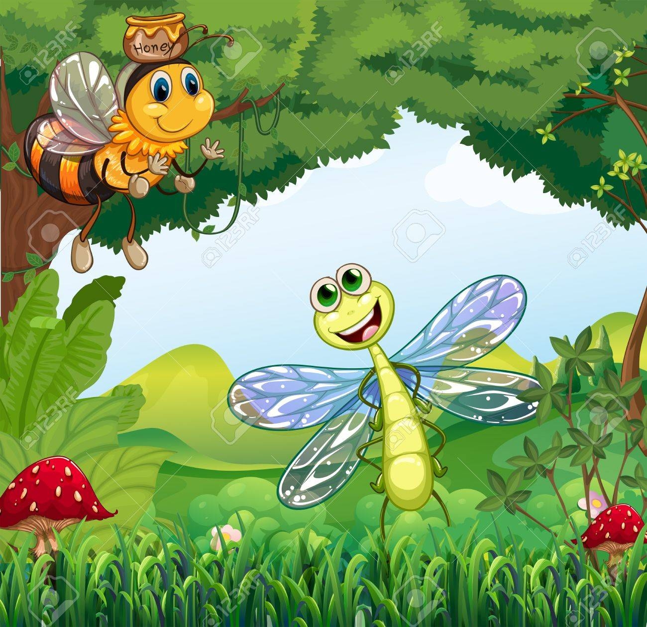 Illustration of a dragonfly and a bee at the forest Stock Vector - 20888871