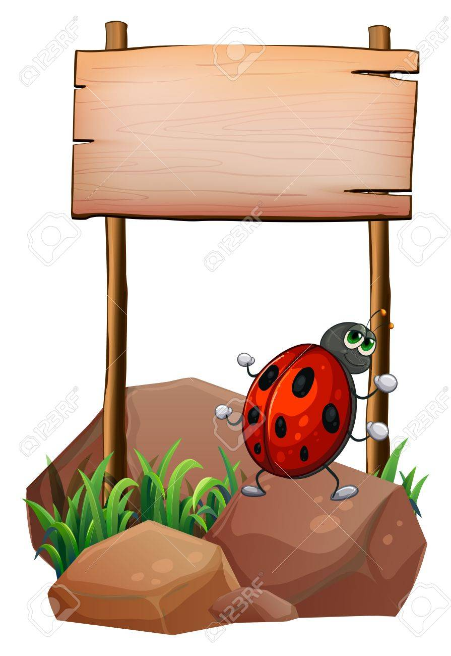 Illustration of a bug below the empty wooden signboard on a white background Stock Vector - 20888880