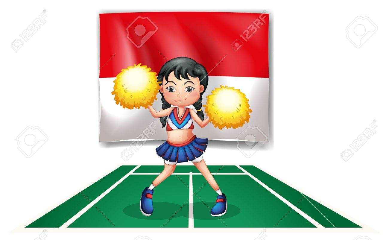 Illustration of a cheerleader in front of the Indonesian Flag on a white background Stock Vector - 20888906