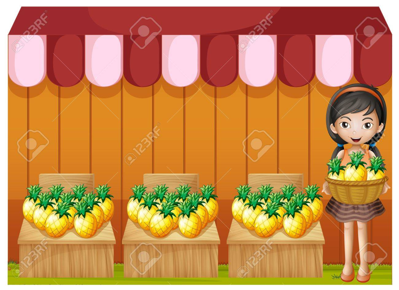 Illustration of a girl selling pineapples on a white background Stock Vector - 20888970