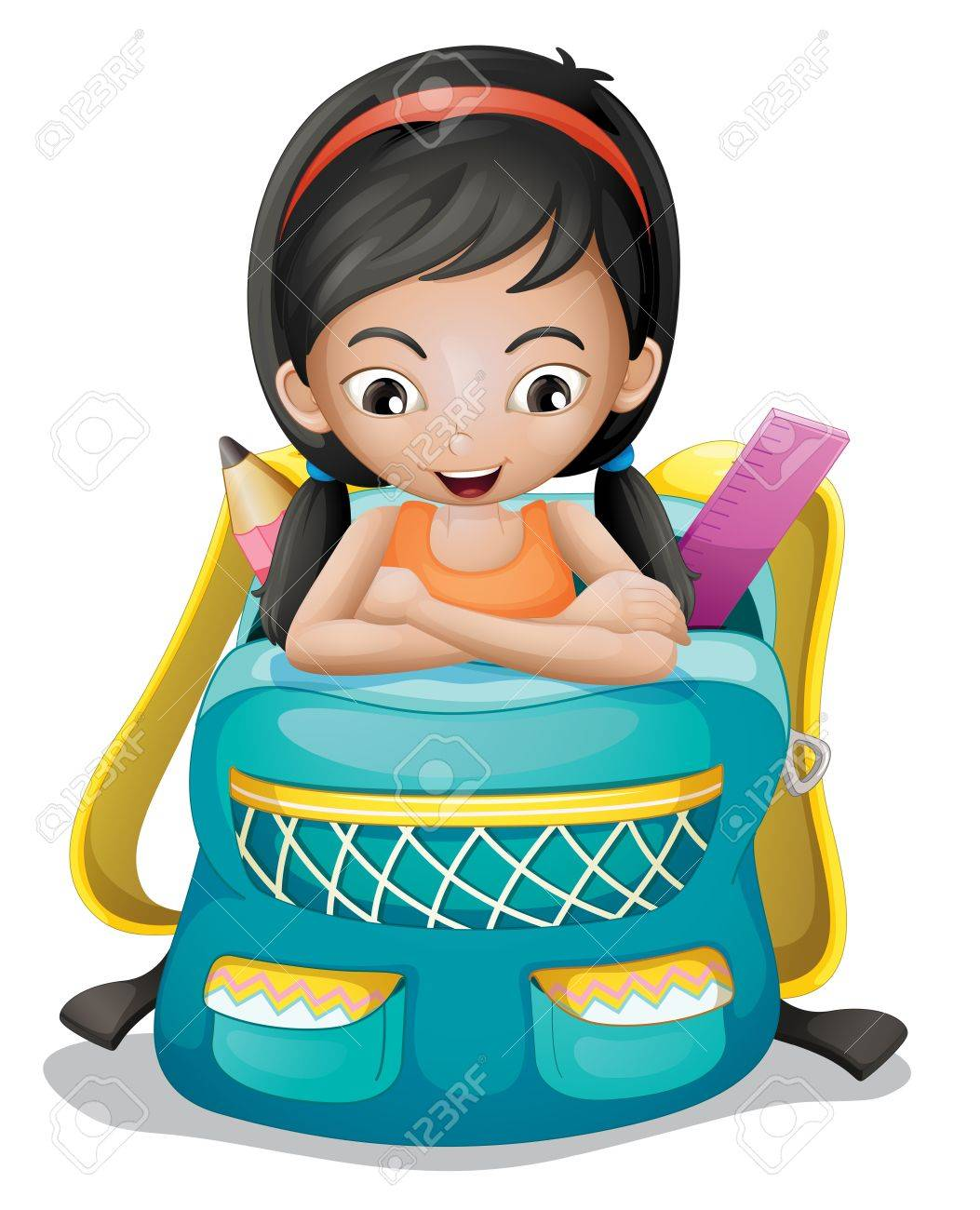 Illustration of a girl inside a school bag on a white background Stock Vector - 20889036