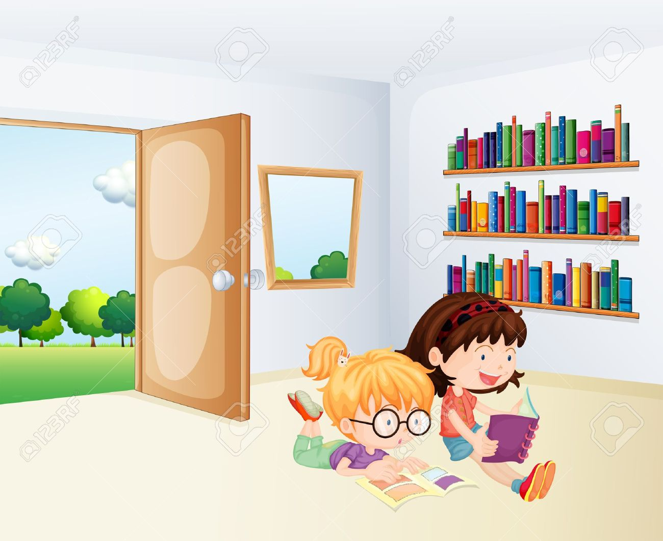 Illustration of the two girls reading inside a room Stock Vector - 20889266