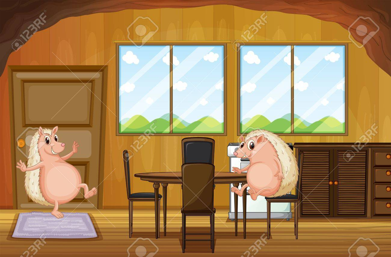 Illustration Of The Two Molehogs Inside The House Royalty Free ... for Animated House Inside  177nar