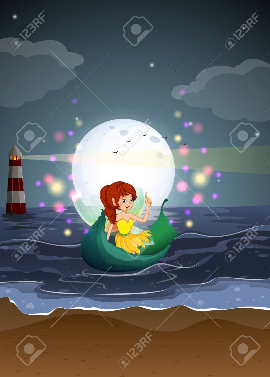 lllustration of a fairy riding on a boat at the beach Stock Vector - 20889292