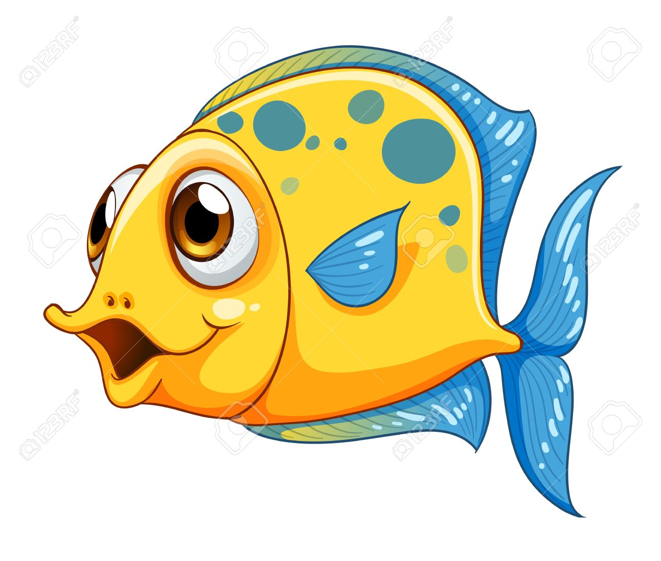 Illustration of a small yellow fish on a white background Stock Vector - 21094918