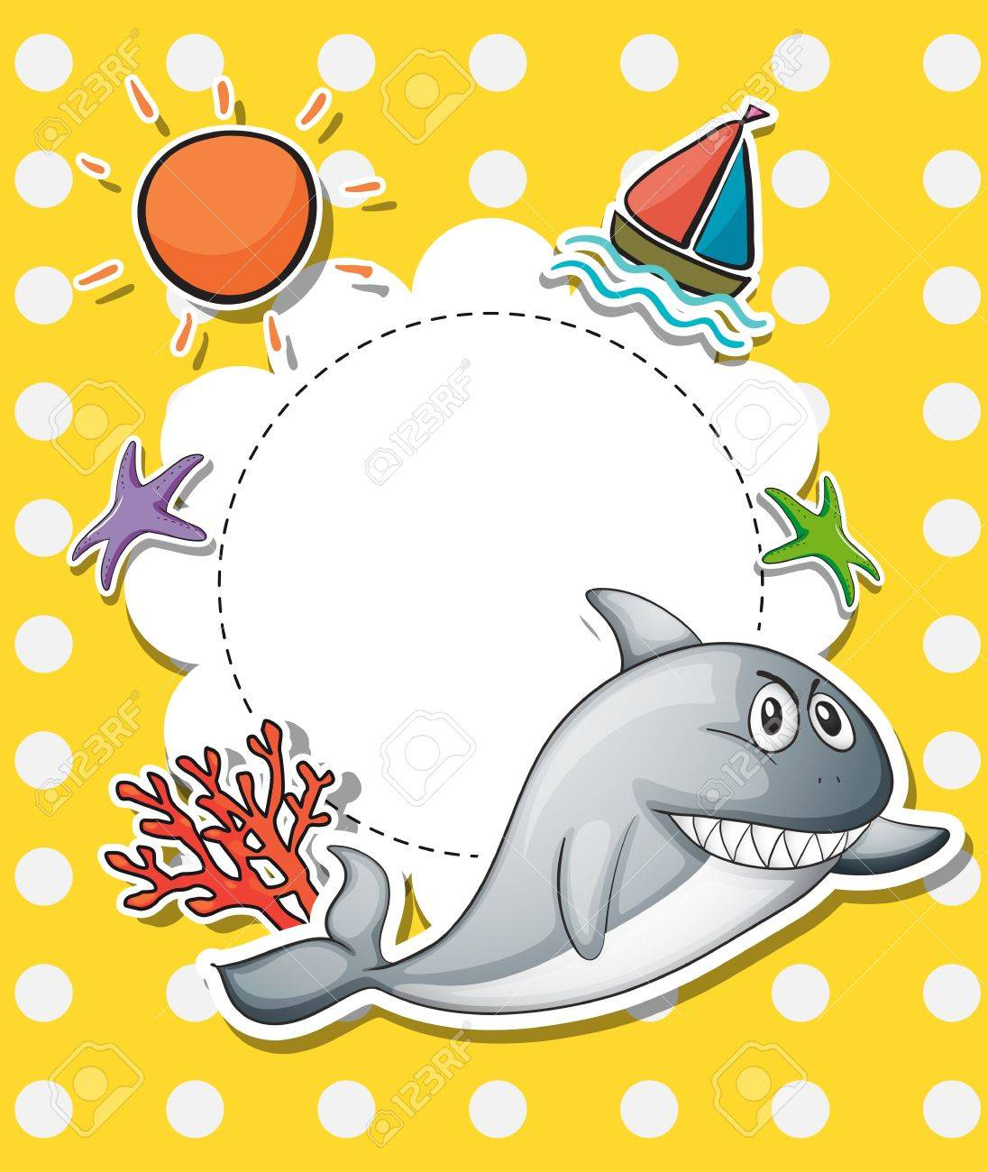 Illustration of a stationery with a big gray shark Stock Vector - 21094961