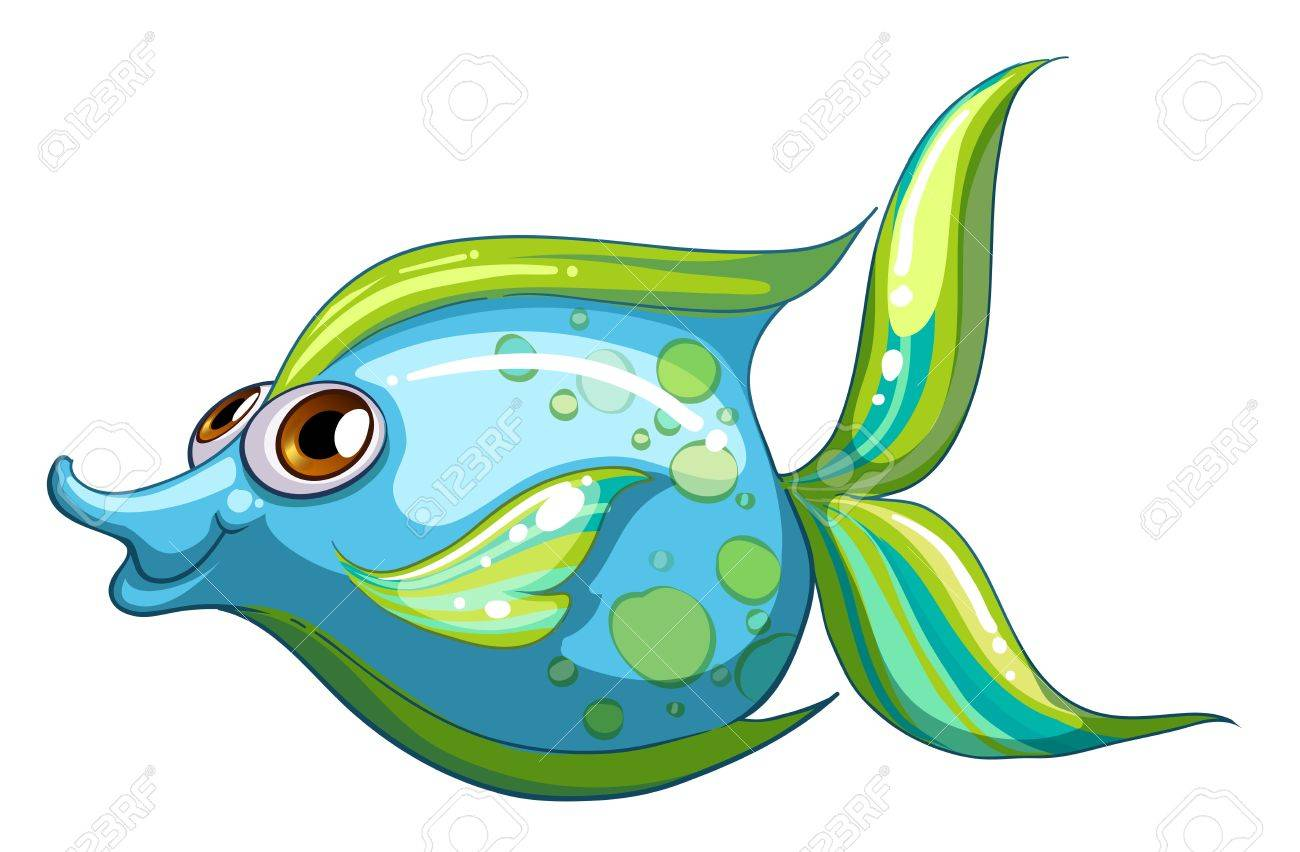 Illustration of a big blue fish with a stripe-colored tail on a white background Stock Vector - 21095046