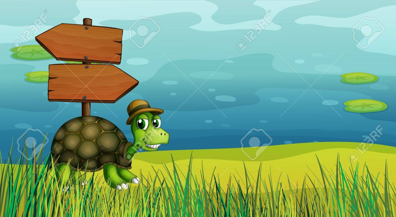 Illustration of a turtle near the wooden arrow boards Stock Vector - 21095067
